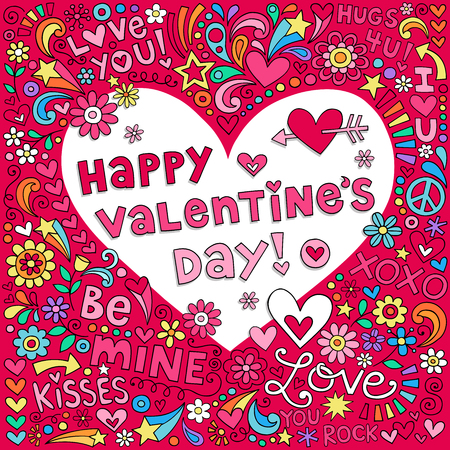seventies: Happy Valentines Day Love Heart Notebook Doodles Vector Illustration Illustration