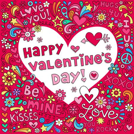 Happy Valentines Day Love Heart Notebook Doodles Vector Illustration Illustration
