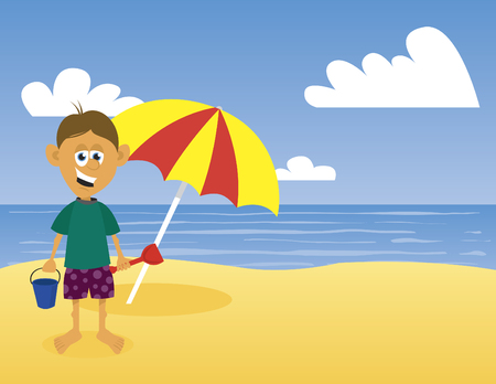 Illustration of a boy at the beach.