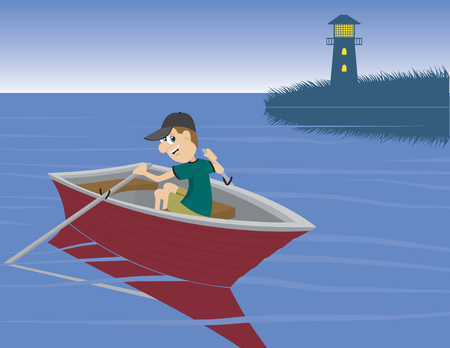 Illustration of a man rowing a boat.