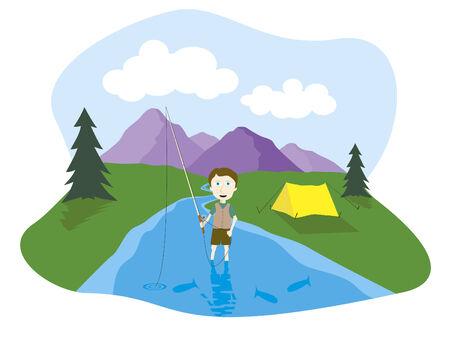 Vector illustration of a boy flyfishing.