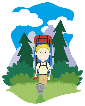 Vector illustratie van een jongen wandelen in de bergen.