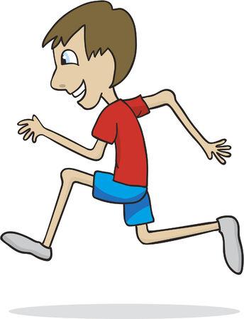 Vector illustration of a boy running.