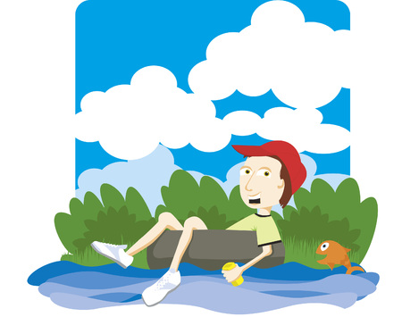 Vector illustration of a boy floating down a river on an innertube. Illustration