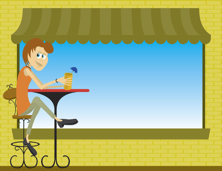 Illustration of a lady sitting at an sidewalk cafe.
