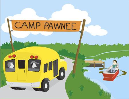 Vector illustratie van een bus aankomen op kamp.