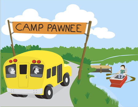 Vector illustration of a bus arriving at camp. Illusztráció
