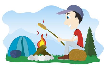 Vector illustratie van een jongen zat bij een kampvuur roosteren een Weenie. Stock Illustratie