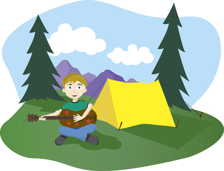 Illustration of a boy playing guitar at his camp sight. Illustration