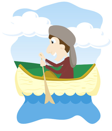 Vector illustration of a boy canoeing.