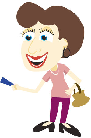 Vector illustration of a lady using a credit card. Illustration