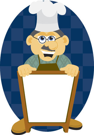 Illustration of a chef holding a blank sign.