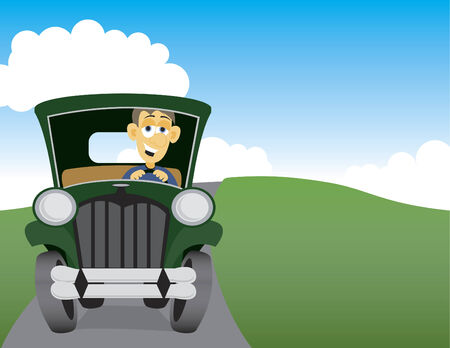 Illustration of a man taking a drive in the country. Illustration