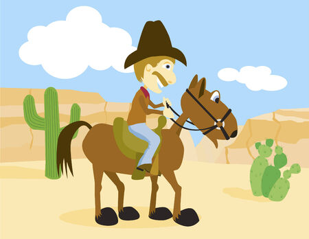 Vector illustration of a cowboy on horseback.