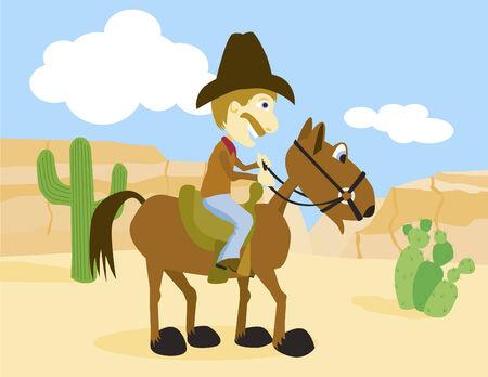 Vector illustration of a cowboy on horseback.