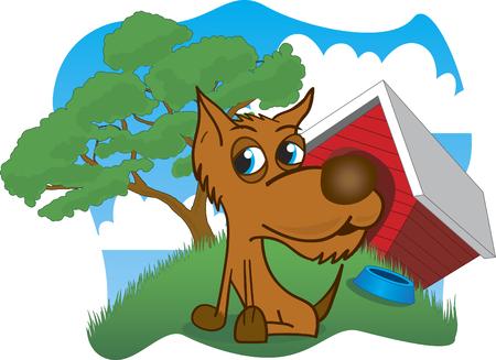Illustratie van een hond in de voorkant van zijn huis.