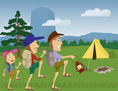 hiking: Vector illustration of a family camping at Devils Tower Monument, Wyoming.