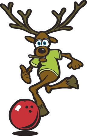 with humor: Vector illustration of an elk bowling with a red bowling ball.