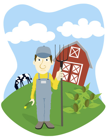 Vector illustration of a farmer standing in front of his barn.