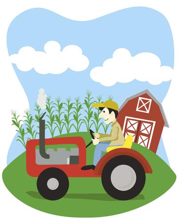 ploegen: Vector illustratie van een landbouwer die het besturen van een trekker. Stock Illustratie