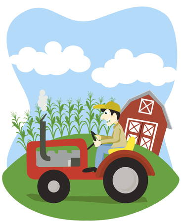 Vector illustration of a farmer driving a tractor. Illustration