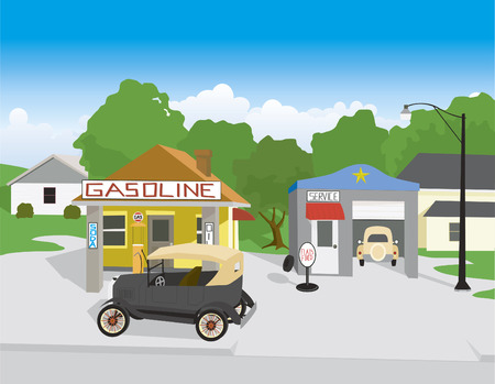 Vector illustation of an old gas station with an old car. Çizim