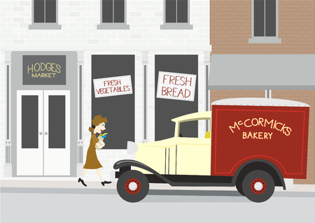 Illlustration of a 1940s grocery store scene.