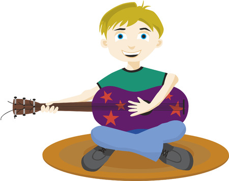 Vector illustration of a boy playing a purple guitar.