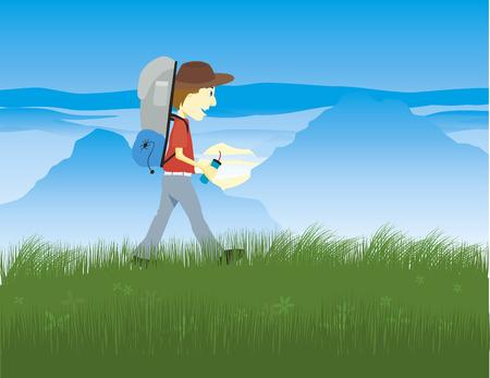 Illustratie van een wandelaar met de bergen op de achtergrond.