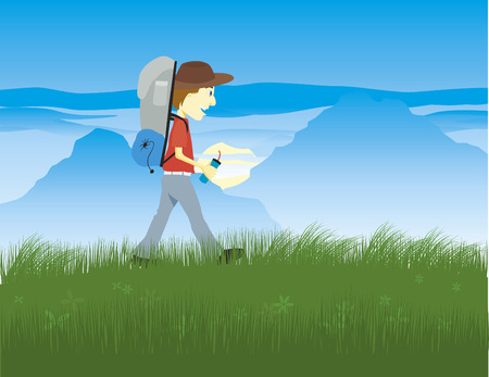 Illustration of a hiker with the mountains in the background.