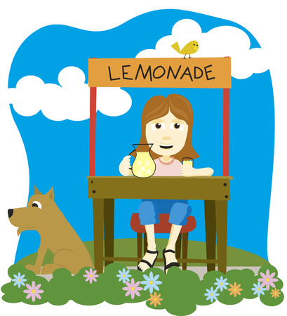 Vector illustration of a girl selling lemonade.