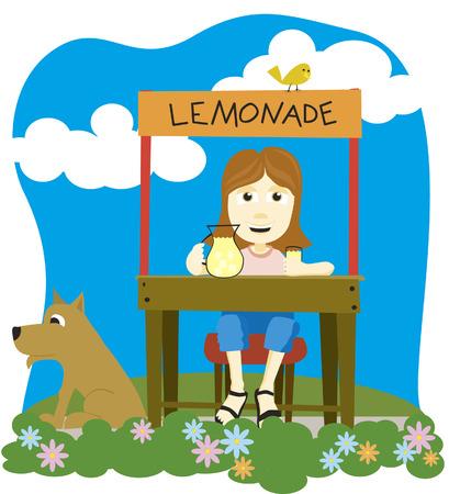 Vector illustration of a girl selling lemonade.