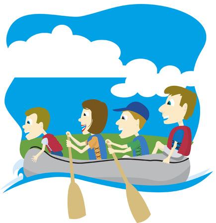 jangada: Ilustraci�n vectorial de una familia en un viaje flotante.