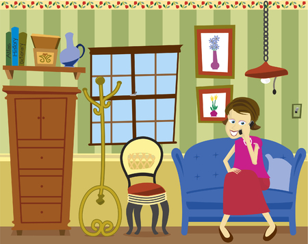 woman on phone: Vector illustration of a girl sitting on a sofa talking on a cell phone.