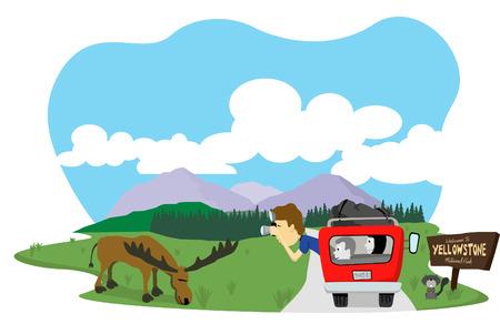 Vector illustratie van een man die een foto van een eland op Yellowstone National Park.