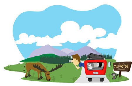 Vector illustration of a man taking a picture of a moose at Yellowstone National Park.