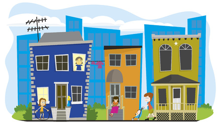 homes: Vector illustration of a neighborhood with a city scape behind. Illustration