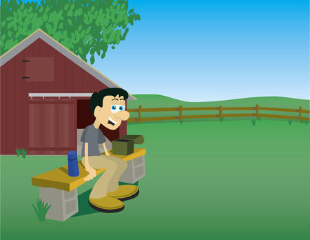 Illustration of a man taking a break from his chores on a farm. Illustration