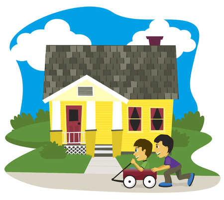 Vector illustration of two boys playing in a wagon. Illustration