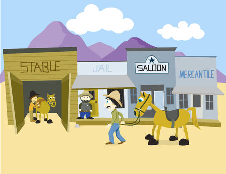 arid: Vector illustration of a western town. Illustration