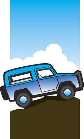 丘の上に座っているオフロード車のイラスト。