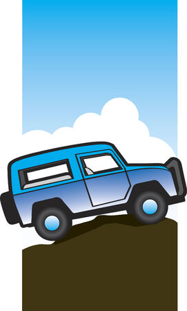 Illustration of an off-road vehicle sitting on a hill top. Illusztráció