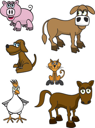 Vector illustration of a collection of farm animals.