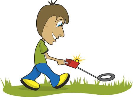 Illustratie van een man die met een metaaldetector op jacht naar de schat.
