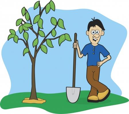 baum pflanzen: Illustration eines Mannes einen Baum gepflanzt.