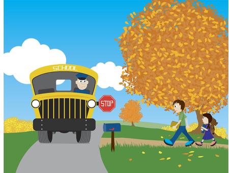 Illustratie van een broer en zus te voet naar de schoolbus.