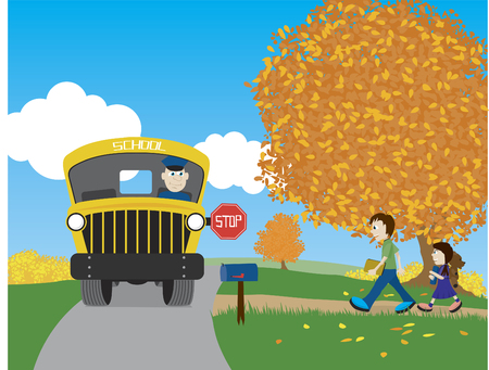 Illustration of a brother and sister walking to the school bus. Illustration