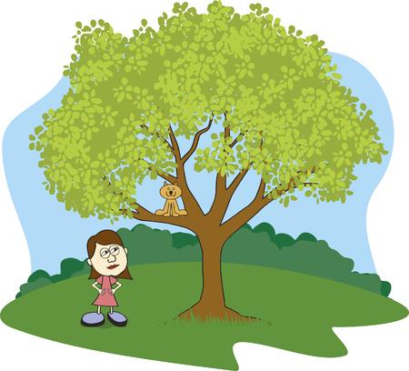 Illustratie van een meisje schitteren op haar kat vast te zitten in een boom.