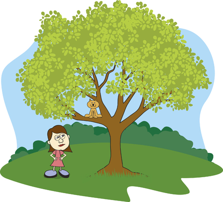 Illustration of a girl glaring at her cat stuck in a tree.
