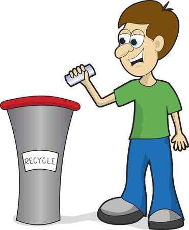 Illustration of a man throwing a can into a recycling bin.